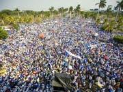 Massenprotest in Nicaraguas Hauptstadt Managua gegen Präsident Daniel Ortega (Bild: KEYSTONE/EPA EFE/JORGE TORRES)