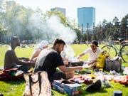 Grillieren und das sommerliche Wetter geniessen: Geselligkeit auf der Josefswiese in Zürich an einem Apriltag 2018. (Bild: KEYSTONE/ENNIO LEANZA)