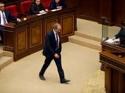 Verrechnet: Oppositionsführer Nikol Paschinjan im armenischen Parlament. (Bild: KEYSTONE/AP/SERGEI GRITS)