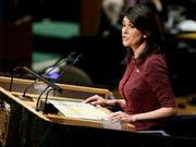 Die USA stimmen gegen einen globalen Umwelt-Pakt auf der Uno-Vollversammlung; die US-Botschafterin bei den Vereinten Nationen, Nikki Haley, bezeichnete das Abkommen als zu vage. (Bild: KEYSTONE/EPA/JUSTIN LANE)