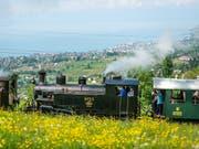Ein Konvoi aus sieben historischen Dampfloks hat am Samstag in der Waadt einen voll besetzten Zug von Blonay nach Chamby gezogen. (Bild: KEYSTONE/GABRIEL MONNET)