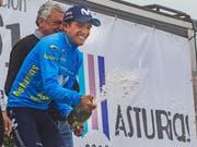 Richard Carapaz - der Gewinner der Bergankunft nach Montevergine di Marcegliano (Bild: KEYSTONE/EPA EFE/ALBERTO MORANTE)