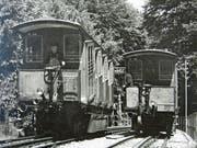 Der Achsenbruch vor 60 Jahren trug sich im Bereich der Hexenkirchli-Schlucht zu, wo sich die beiden Wagen der alten RHW kreuzten. (Bild: PE)
