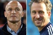 Im Rennen um St.Gallens Cheftrainer werden Ex-Sion-Trainer Peter Zeidler und der Tübacher Roger Stilz heiss gehandelt. (Bild: Keystone/Bildcombo: sgt)