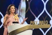 Moderiert wurde die Verleihung des Prix Walo in den tpc-Studios in Zürich-Leutschenbach von Monika Kaelin, Präsidentin der Show Szene Schweiz und Produzentin der Gala, (Bild: Patrick Hürlimann / Keystone (Zürich, 14. Mai 2018))