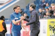 Hekuran Kryeziu (links) mit FCL-Coach Gerardo Seoane. (Bild: Martin Meienberger/Freshfocus (Luzern, 2. April 2018))