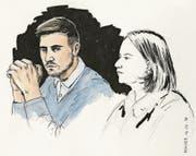 Thomas N. bei der Gerichtsverhandlung. (Bild: Illustration: Sibylle Heusser/Keystone (Schafisheim, 16. März 2018))