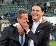 FCL-Coach Gerardo Seoane (rechts) herzt nach dem 3:2-Triumph in St. Gallen Präsident Philipp Studhalter. (Bild: Freshfocus (9. Mai 2018))