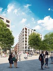 So stellen sich die Planer den Bahnhofsplatz im neuen Mattenhof-Quartier vor. (Bild: Visualisierung: PD)
