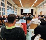 Kantonsvertreter informierten in Lengwil über das Projekt Oberlandstrasse (OLS). (Bild: Donato Caspari)