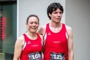 Die Sieger des Laufs: Barbara Jurt und Sven Marti. (Bild: Philipp Schmidli (Stans, 5. Mai 2018))