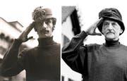 Das Foto links zeigt den gebürtigen Österreicher Helio Hickl in den 60er Jahren während seiner Ausbildung in Wien. Nun wurde der Fotograf kurzerhand selbst zum Modell. Das Foto von Hickl rechts entstand in seinem Garten vor dem Haus in Chatzerüti bei Hefenhofen, aufgenommen von Donato Caspari. (Bild: Donato Caspari)