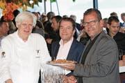 Die Macher des Zuger Genuss Film Festivals: Stefan Meier, Ulrich Straub und Matthias Luchsinger (von links). (Bild: Charly Keiser (10. Mai 2018))