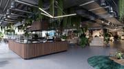 Indoor-Surfwelle in der Mall of Switzerland: Visualisierung des Cafés. (Bild: PD)