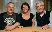 Martin Herzog (bisheriger Präsident), Iris Sussi (neues Vorstandsmitglied) und Josef Mattle (künftiger Präsident). (Bild: Georg Stelzner)