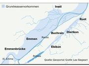 Diese Grafik zeigt das Grundwasservorkommen in Emmen und Umgebung. (Bild: Grafik: Lea Siegwart)