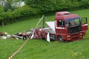 Die Unfallstelle in Eich (Bild: Luzerner Polizei (Eich, 4. Mai 2018))