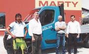 Die Martygruppe übernimmt die A. Göldi AG. Erich Göldi, Werner Marty, Christoph Benz und Werner Marty jun. (von links). (Bild: PD)