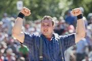 Joel Wicki triumphiert am Basellandschaftlichen Schwingfest in Oberdorf. (Archivbild Urs Flüeler / Keystone)