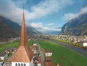 Bemerkenswert an der Arbeit der Firma Bless ist der gelungene Übergang vom viereckigen Turmfuss zur achteckigen Turmspitze. (Bild: PD (Erstfeld, 17. November 2017))