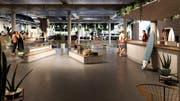 Indoor-Surfwelle in der Mall of Switzerland: Visualisierung des Shop-Bereichs. (Bild: PD)