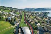 Bereits beschlossen: Die Einfahrt von der A8 bei Hergiswil wird länger und der Pannenstreifen bei viel Verkehr auf der A2 Richtung Nord/Luzern zur dritten Spur (rote Strecke). Nun fordert der Kanton Nidwalden vom Bund auch in Fahrtrichtung Süd drei durchgehende Spuren. (Bild: Astra)