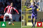 Beim Form-Check aufgefallen: Xherdan Shaqiri von Stoke City. Hingegen abgefallen: Roman Bürki von Borussia Dortmund. (Bilder: Keystone)