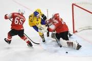 Die Schweiz kassiert gegen Schweden die zweite Turnierniederlage. (Bild: Keystone)
