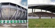 Neu und alt: Der Kybunpark, die aktuelle Spielstätte des FC St.Gallen, und dessen Vorläufer, das Espenmoos. (Bild: Benjamin Manser/Urs Jaudas)