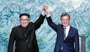Der Handschlag nach einer gemeinsamen Erklärung. (Bild: (AP))