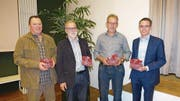 Abtretende CVP-Landräte (von links): Hans-Peter Zimmermann, Viktor Baumgartner, Sepp Barmettler und Stefan Hurschler. (Bild: PD)