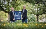 Interimspräsident Kurt Wick (links) und Geschäftsführer Peter Bär arbeiten darauf hin, dass Volley Amriswil bald wieder die Nummer eins im Schweizer Volleyball ist. (Bild: Reto Martin)