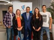 Ueli Schnider, Nadine Fähndrich, Regierungspräsident Guido Graf, Rahel Rebsamen und Gregor Deschwanden (v.l.n.r.) (Bild: Roberto Conciatori)