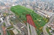 Die Olma-Messen wollen einen Teil der Stadtautobahn überdachen und darauf eine neue Messe- und Eventhalle erstellen. (Bild: PD)