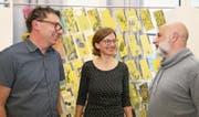 Roland Halter, Leiter Freizeitzentrum, Katrin Krummenacher, Präsidentin, und Cleo Bracale, neu im Vorstand, Ressort Finanzen und Delegierter für die Gemeinde Sarnen (von links). (Bild: Marion Wannemacher (Sarnen, 4. Mai 2018))