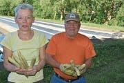 Anita Gabathuler und Köbi Müller freuen sich, dass in den letzten Wochen das Wetter für das Wachstum der Wartauer Spargeln ideal war. (Bild: Thomas Schwizer)