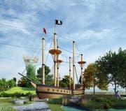 Eine der geplanten Attraktionen auf dem Abenteuerspielplatz: Ein Piratenschiff zum klettern. (Bild: Visualisierung/PD)