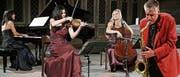Im ersten MaiBlüten-Konzert wird der Jazz-Saxophonist Daniel Schnyder der klassischen Kammermusik des Trios Artemis begegnen. Fotomontage: mp