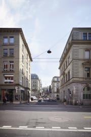 So würde die Einfahrt für das Seeparking an der Gotthardstrasse aussehen (im Vordergrund die Alpenstrasse). (Visualisierung: PD)