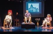 Alexandre Pelichet, Matthias Peter und Simone Stahlecker in einer szenischen Lesung auf der Bühne der Kellerbühne. (Bild: Urs Bucher)