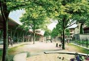 Der neugestaltete Marktplatz in Flawil soll zum Verweilen einladen und zum Ort der Begegnung werden. (Bild: Visualisierung: PD)