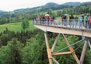Der Blick auf die Aussichtsplattform zeigt die Metall-Holz-Konstruktion. (Bild: Martin Knoepfel)