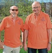 Kurt Brugger und Hanspeter Foscan gehören zu den treibenden Kräften der Männerriege Wattwil. Auch dank ihnen erhält das Vereinsjubiläum den ihm zustehenden Stellenwert. (Bild: Beat Lanzendorfer)