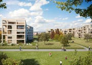 Rund 150 Eigentums- und Mietwohnungen sind in der Grüenmatt in Emmen geplant. Visualisierung: PD