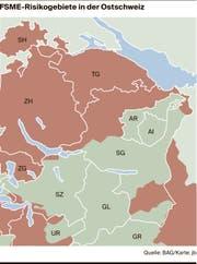 Die Risikogebiete (braun) in der Ostschweiz.