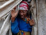 Eine Binnenvertriebene in einem Lager in der Demokratischen Republik Kongo. (Bild: Keystone/EPA/DAI KUROKAWA)