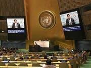 Andrea Caroni bei seiner Rede vor der UNO. (Bild: PD)