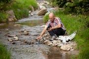 Philipp Arnold von der Dienststelle Umwelt und Energie bei der Entnahme einer Wasserprobe. Luzerner Gewässer sind unter anderem mit Düngstoffen und Pestiziden aus der Landwirtschaft belastet. (Bild: PD)