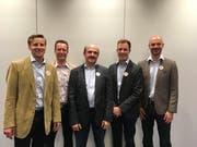 Die Kandidaten der CVP Unterägeri (von links): Andreas Koltszynski, Matthias Buzzi, Josef Iten-Nussbaumer, Fabio Iten und Stefan Merz-Hug. (Bild: Rahel Hug (17. Mai 2018)
