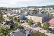 Das neue, baulich mit der Mehrzweckturnhalle verbundene Schulhaus, wie es in das heutige Schulareal eingebettet werden soll. Im Vordergrund die Schulstrasse, hinten links der Kindergarten, der bestehen bleibt. (Visualisierung: Schällibaum)